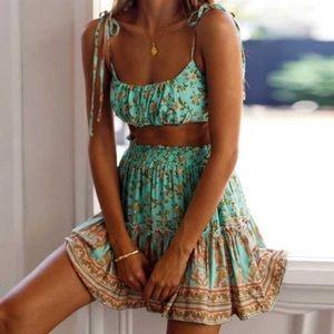 🆕 Floral Boho Print Crop Top Mini Dress Skirt Set